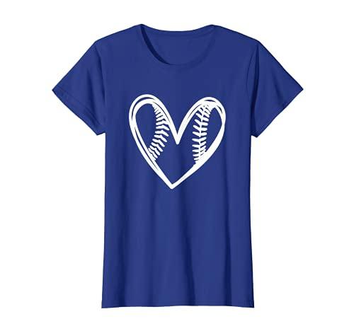 Women Teen Girl Cute Outlined Baseball Softball Heart Design T-Shirt