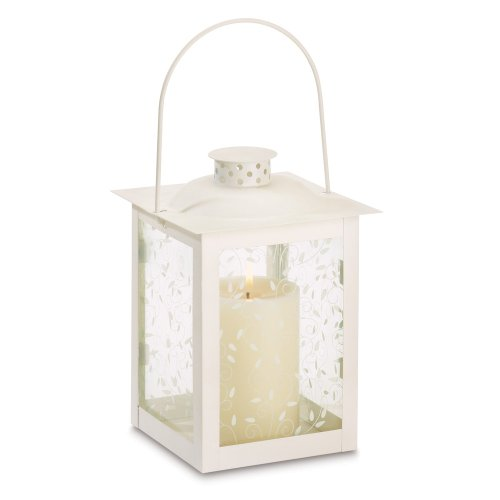 Gifts & Decor Large White Lantern Ivory Glass Candleholder Candle