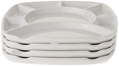 Divided Fondue plates, White Stoneware
