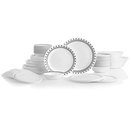 Corelle Service for 12, Chip Resistant, City Block Dinnerware Set, 78 Piece