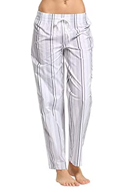 CYZ Women's 100% Cotton Woven Poplin Sleep Pajama Pants-VoileSilverStripe-L by