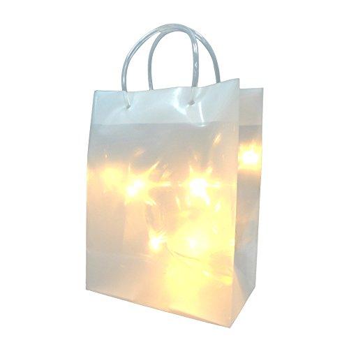 creativ home 3D PVC Tasche. STERNEFFEKT 16x9x21 cm. Dekotüte Sterne, incl. 10er LED Lichterkette.