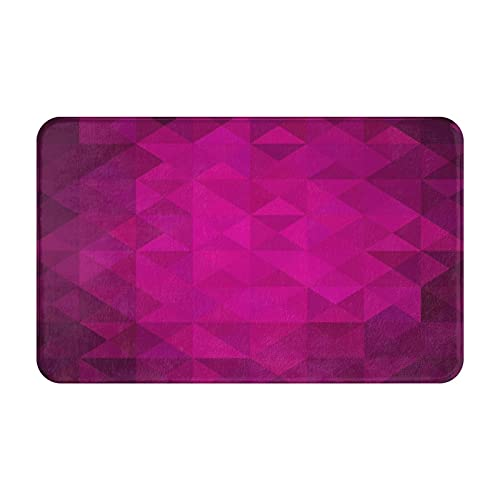 FOURFOOL Alfombrillas de Baño,Fondo Abstracto Rosa Fuerte de triángulos Low Poly,Alfombra de baño de Antideslizante Absorbente Tapete para el Piso Lavable a Máquina para Bañera Ducha