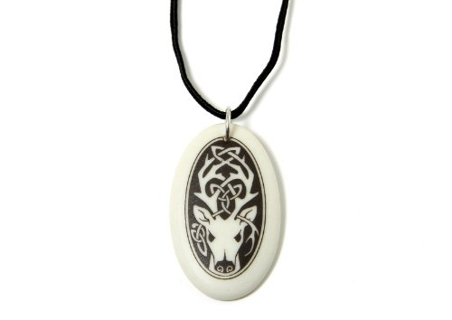 Touchstone Pottery Celtic Stag Necklace Celtic Jewelry-Porcelain Oval