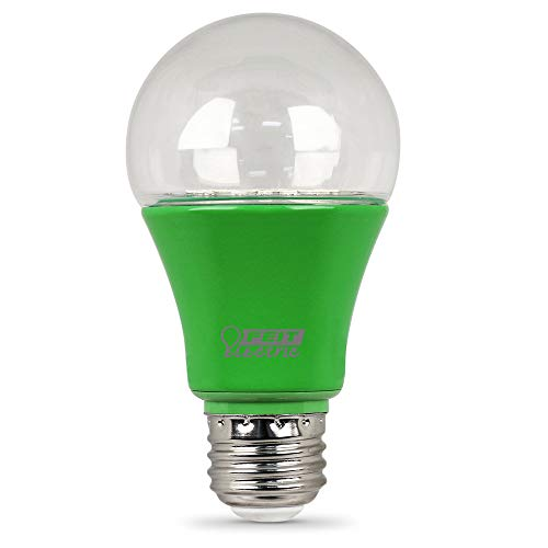 Feit Electric A19/GROW/LEDG2/4 60W Equivalent 9W Indoor and Outdoor Full Non-Dimmable, 449nm Blue to 630nm red spectrums A19 Plant Grow Light Bulb, 4.5' H x 2.25' D, Green, 4 Piece