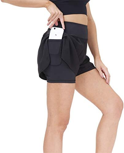 snowhite Women s Running Shorts Workout Athletic Gym Yoga Shorts with Phone Pockets Black product image