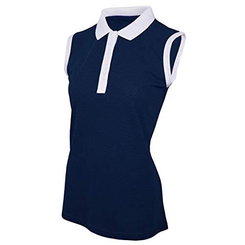 Island Green Damen Golf Poloshirt, ärmellos, atmungsaktiv, flexibel, feuchtigkeitstransportierend, Tiefe Knopfleiste, Marineblau/Weiß