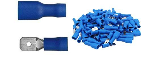 Shentian Kabelschuhe x 100 - Flachstecker Blau x 50 / Flachsteckhülsen Blau x 50 - Steckmaß 6,3 mm, Quetschverbinder, Isolierte - Für Kfz, Elektronik und Hobby