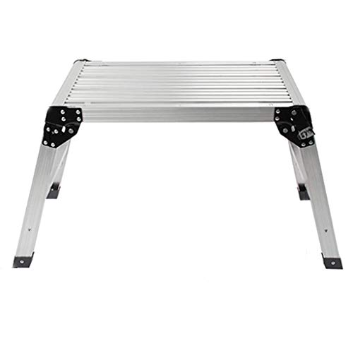 MHBGX Multifunction Folding Step Stool,Step Stool and Working Platform 330 Lbs, Capacity Foldable Anodized Aluminum/Heavy Duty Portable Bench Folding Ladders Stool W/Non-Slip Mat (Silver)/24X11.8X20I
