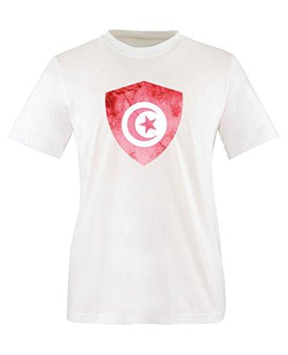 Comedy Shirts - Tunesien Trikot - Wappen: Groß - Wunsch - Kinder T-Shirt - Weiss/Rot Gr. 98-104