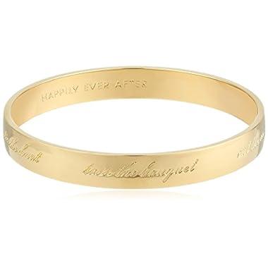 Kate Spade New York Bride Gold-Tone Engraved Idiom Bangle Bracelet