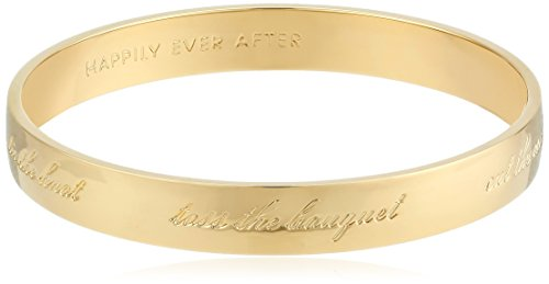 kate spade new york 'Bride' Gold-Tone Engraved Idiom Bangle Bracelet