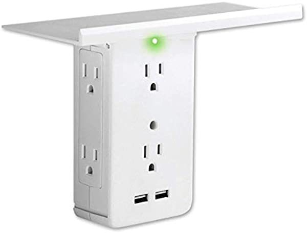 Weoto Outlet Shelf Switch Socket Rack 6 Electrical Outlet Extenders 2 USB Charging Ports For Home