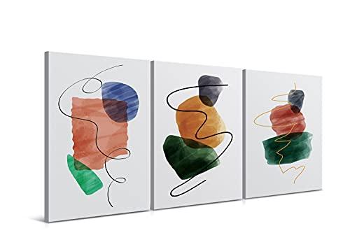 Cuadros Decorativos de Arte Abstracto Moderno - 30 x 40 x 2 cm (Pack 3) - Decoración de Pared para Salón, Dormitorio, Cocina y Baño - Lienzo de Poliéster y Bastidor de Madera, LEN-015-WIND