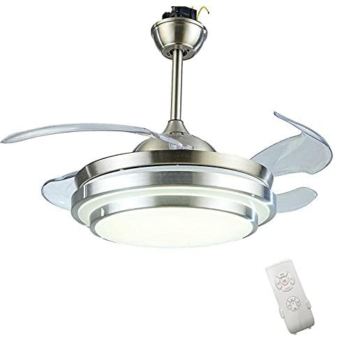 Ventilador de techo de 91,5 cm con iluminación y mando a distancia, invisible, lámpara de araña de 4 aspas retráctiles para comedores, restaurantes, salones y dormitorios