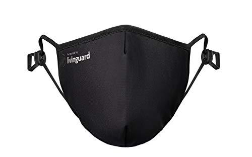 Livinguard – PRO MASK | 3-Lagige Gesichtsmaske | Verstellbar, Waschbar, Wiederverwendbar (Black, XL)