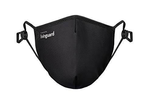Livinguard – PRO MASK | 3-Lagige Gesichtsmaske | Verstellbar, Waschbar, Wiederverwendbar (Black, M)