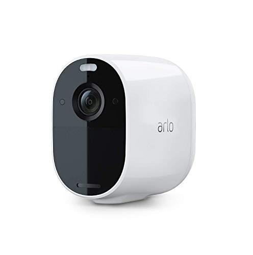 Arlo Essential Spotlight VMC2030, telecamera sorveglianza Wifi senza fili, 1080p, Visione notturna a colori, Audio a 2 vie, interno/esterno, Faro e sirena integrati, non richiede Base Arlo, bianca