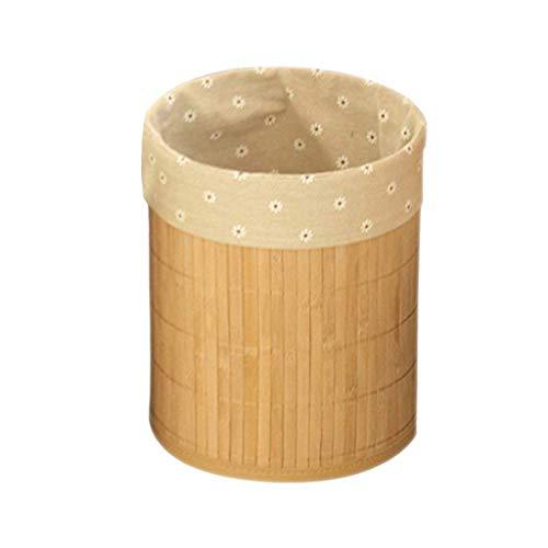 Tubayia Bambus Mülleimer Abfallkorb Papierkorb für Bad, Küche, Schlafzimmer, Büro (Blume)