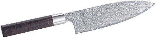 TokioKitchenWare Santoku Messer: Handgefertigtes Marken-Damast-Chefmesser mit 19-cm-Klinge (Japanische Messer Damast)