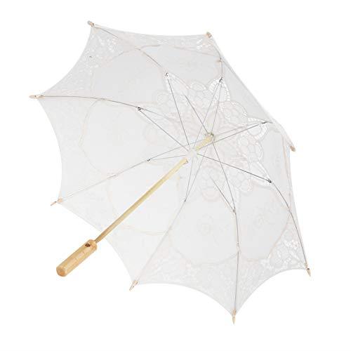 Les-Theresa Paraguas de boda, paraguas de encaje para novia, sombrilla para fotografía, accesorios de boda, suministros de boda, color beige