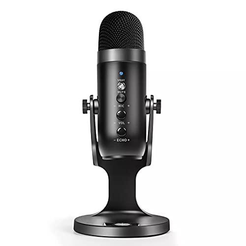 Micrófono USB Podcast, monitoreo de auriculares con conector jack de 3,5 mm, para juegos PS 4/5, YouTube, Skype, grabaciones, mensajería instantánea, canto, chat