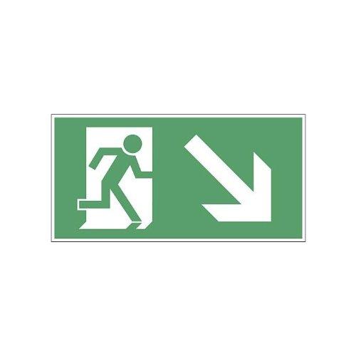 Rettungsschild Fluchtweg Notausgang Schild Kunststoff selbstklebend und nachleuchtend BGV 8A Pfeil Treppe rechts runter