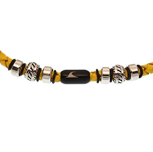 WAVEPIRATE® Echt Leder-Halskette Steel F Gelb/SW 45 cm Edelstahl-Verschluss in Geschenk-Box Surfer Männer Herren