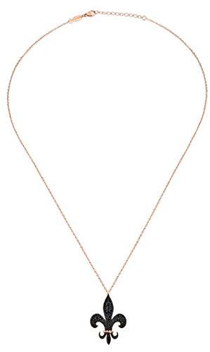 Kurshuni Lilien Collier Sterlingsilber rosévergoldet glänzend schwarzer Spinell ca. 52,5 lang verkürzbar! + Geschenkbox