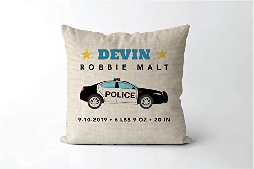 43LenaJon Cotton Linen Pillow Covers for Sofa Police Car Birth Stats Pillow Personalized Birth Announcement Pillow Baby Present Police Nursery Law Enforcement First Responder cop 18x18 Inch