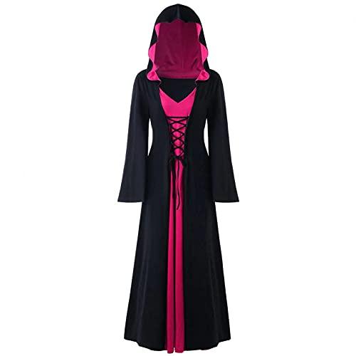 SHIZUANYUE Maxi Kleider Damen Gothic Steampunk Langarm Mittelalter Kleid Mit Kapuze Kleid Elegant Retro Abendkleider Cosplay Kostüm Halloween Costume Karneval Kostüm Party Fasching Fasnacht Coat