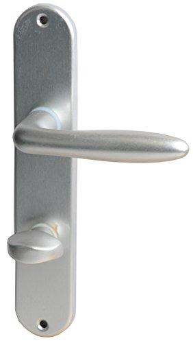 Alpertec 40362030PO Aluminium Türbeschlag Ray II-LS Langschildgarnitur für Badtüren in silber eloxiert WC 78 MM mit Sperrriegel, für Badezimmertüren