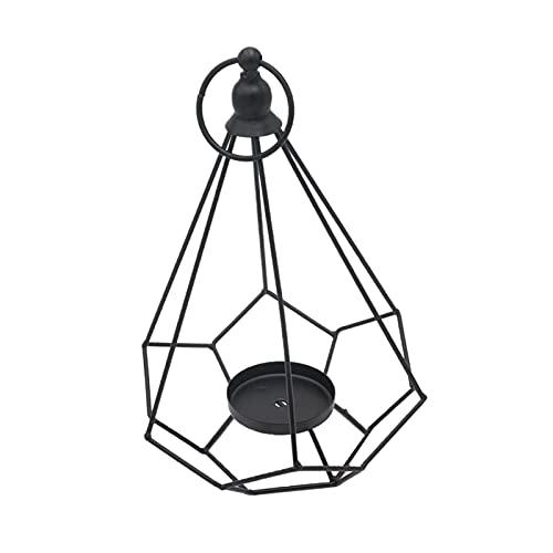 acbtao124 Candelabro geométrico simple diseño moderno metal negro vela titular