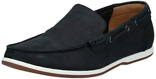 Clarks Men's Black Nubuck Leather Loafers-8 UK (42 EU) (26139034)