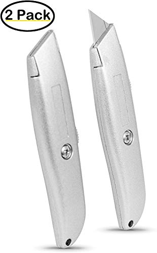 Internet's Best Classic Utility Knife - Set of 2 - Retractable Razor Knife Set - Extra Blade Refills - Box Cutter Locking Razor Knife - Full Metal Body