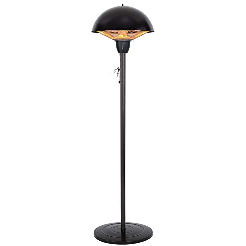 Star Patio Electric Patio Heater, Freestanding Electric Outdoor Heater, 1500W Infrared Heater with Dome Shape and Hammered Bronze Finish, Adjustable Height and Silent Heating Space Heater, 1566-B-S