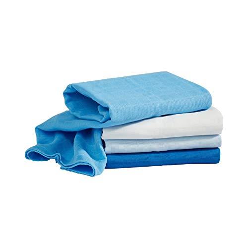 Bornino Lot de 4 langes de gaze 80 x 80 cm couche en tissu, bleu