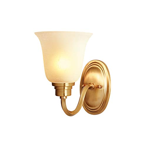 Koperen wand Lamp, Slaapkamer nachtlamp volledig koperen Base bestand tegen hoge temperaturen Glazen lampenkap Moderne Minimalistische European Style Living Room Aisle Lamp