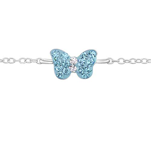 FIVE-D Kinder Armband Kristall Schmetterling Länge 14/16 cm 925 Sterling Silber im Geschenketui (Blau)