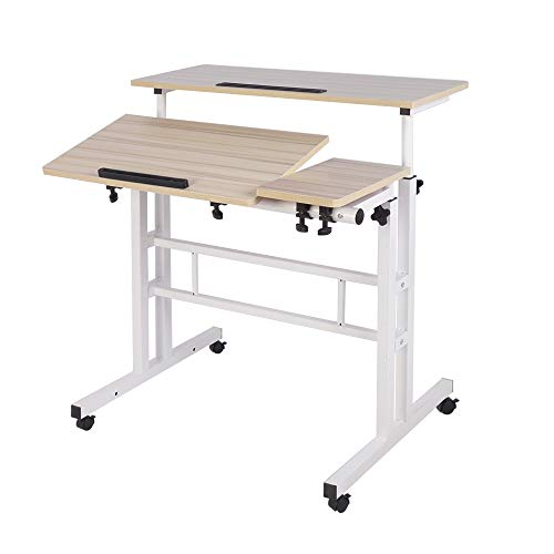 DlandHome Sit-Stand Desk Cart Mobile Height-Adjustable Sit to Stand Office Desk Riser Standing Table Workstation Mobile Desk, Maple, 101-2-MP