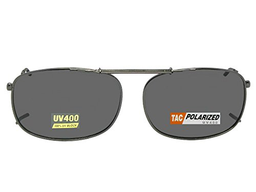 Rectangle Polarized Clipon Sunglasses (Pewter-Gray Polarized Lens, 52mm Width x 35mm Height)