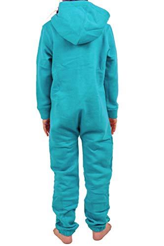 Gennadi Hoppe Kinder Jumpsuit - Jungen, Mädchen Onesie Jogger Einteiler Overall Jogging Anzug Trainingsanzug, türkis,158-164 - 2