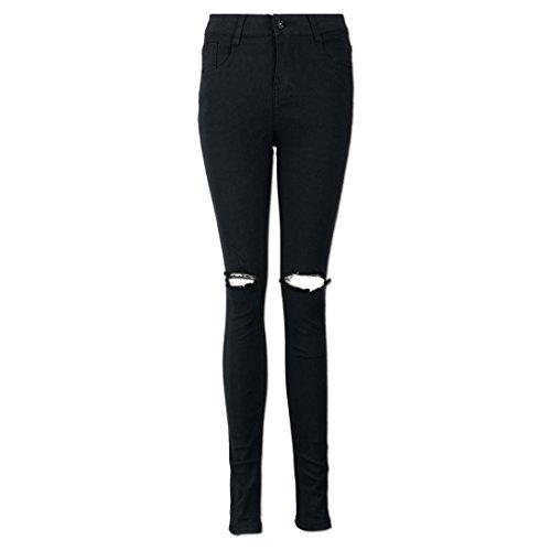 TWIFER Damen Cool Ripped Knieschnitt Skinny Lange Jeans Hose Schlank Bleistift
