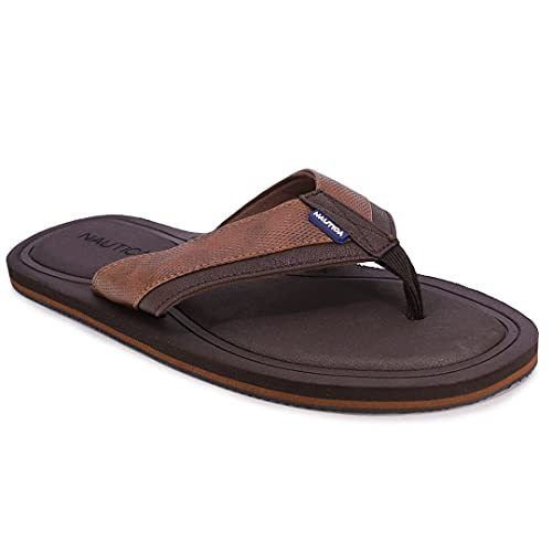 Nautica Men's Flip Flop, Rustic Style Fabric Lined, Beach Sandal-Cadman-Brown-9
