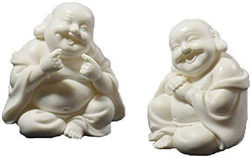 Estatuas de decoración, estatuas C Coleccionables Lucky Laughing Buddha Maitreya Estatua de cerámica creativa Escritorio Decoración de perfumes para automóviles Adornos de cerámica Sala de estar Hog