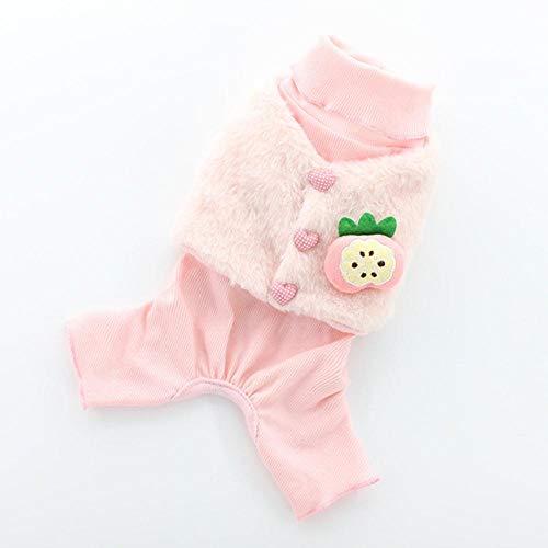 Disfraz de invierno para mascotas con dos pies y chaleco de fruta, ropa para perros pequeos, color rosa, talla L
