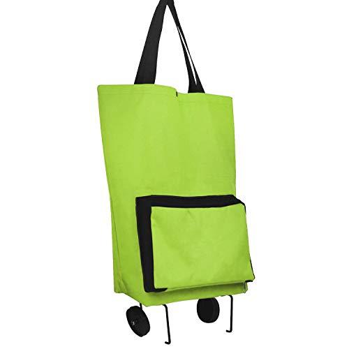 YLX Faltbarer Einkaufstrolley, Einkaufstrolley Einkaufswagen mit Faltbarer Abnehmbarer Einkaufstüte Klappbarer Einkaufsroller (Grün)
