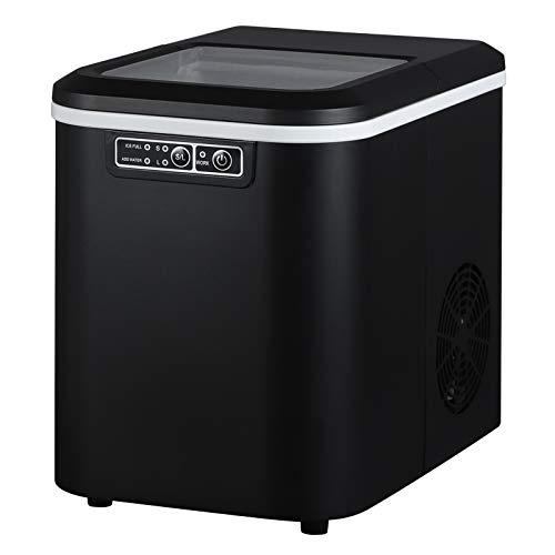 WOLTU EM01sz Eiswürfelmaschine Eiswürfelbereiter, 15kg/24hrs, 2 Eiswürfel-Größen, 2,2 Liter Wassertank, Selbstreinigungsfunktion, Eismaschine Leise Ice Maker ABS, Schwarz