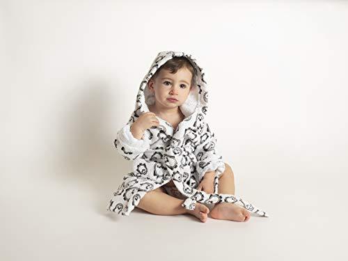 Ti-Tin Albornoz para niños de 1 año en color gris con estampado de PINGÜINOS | Fabricado en algodón de rizo muy suave
