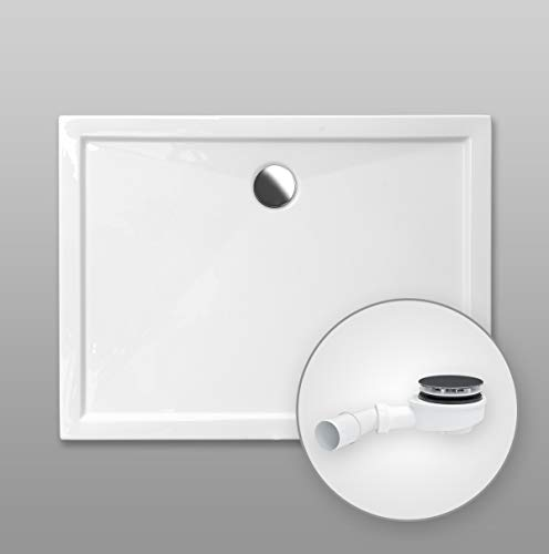 Duschwanne AQUABAD® Comfort SIMPLON rechteckig 80 x 120 cm, Extraflache Acryl-Duschtasse, Aufbau-Höhe: 5,5 cm, Ablaufgarnitur Trapflex extraflach